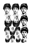 Various Sized Ladies Heads Collage Sheet